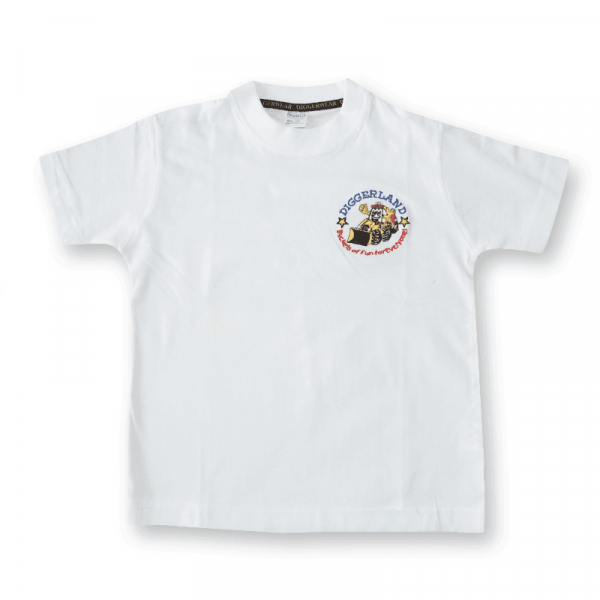 White T Shirt with Embroidered Logo
