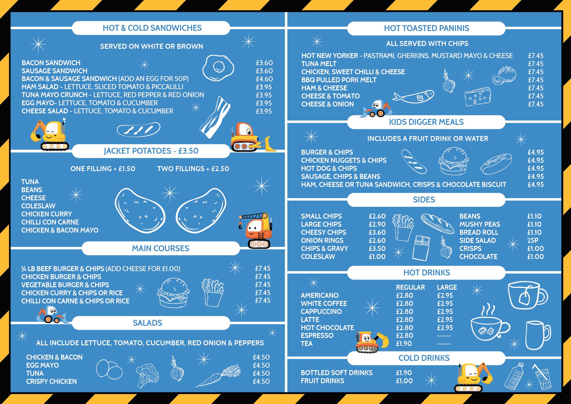 diggerland yorkshire menu